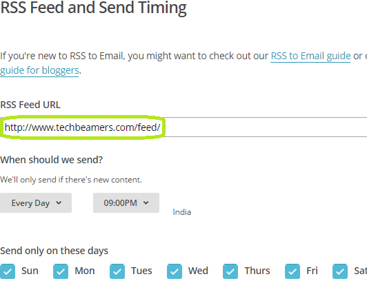 Setup Mailchimp - set rss feed url.