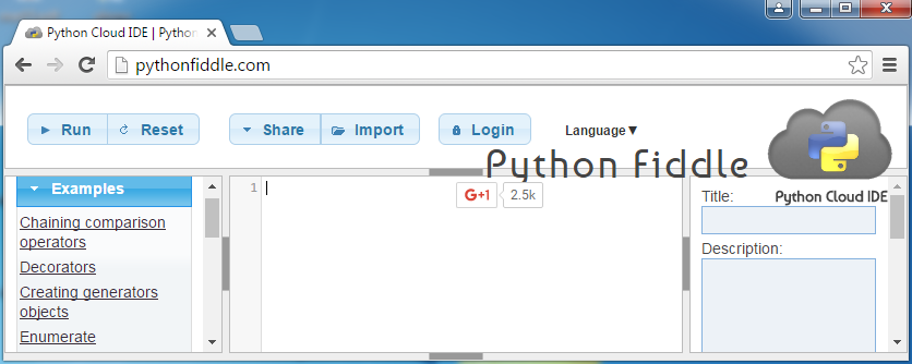 Chrome Python Shell Extension by PythonFiddle.com