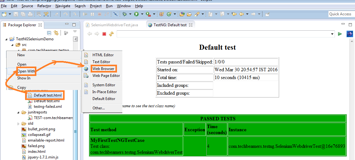 TestNG Test Case Using Selenium Webdriver