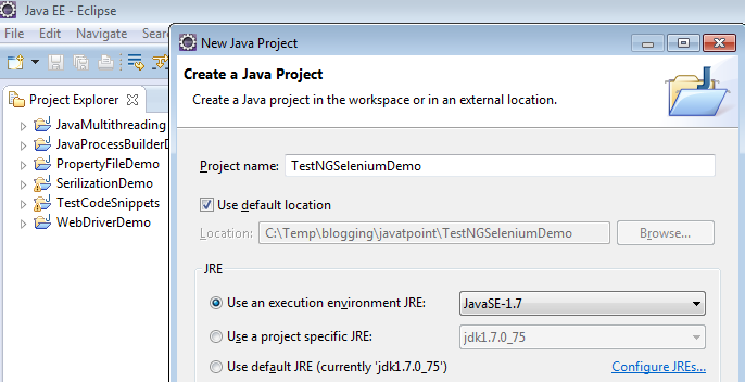 New Java Project to Write a TestNG Test Case