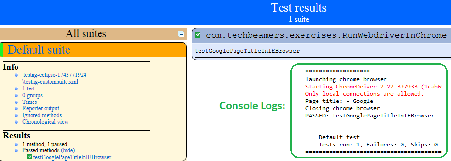 Running Webdriver Test Cases - Execution Report