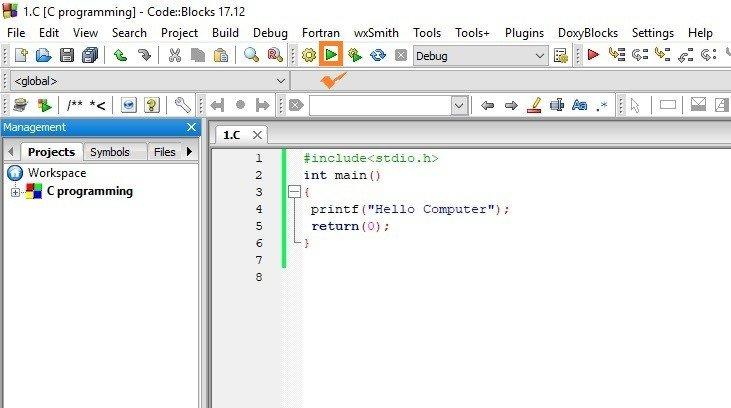Use Codeblocks to write your first C program